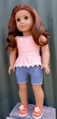 Pink Stretch Denim Cuffed Shorts 18 in Doll Clothes Fits American Girl