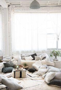 So cozy floor seating idea. #allthepillows