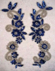 Blue & Silver Mirror Pair Sequin Beaded Appliques 0183 I need these. Pearl Embroidery, Tambour Embroidery, Silk Ribbon Embroidery, Hand Embroidery Designs, Vintage Embroidery, Embroidery Stitches, Bead Embroidery Patterns, Sequin Appliques, Rhinestone Appliques