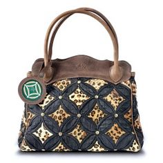 Big Cat Collection Handbag Silk & Leather Black Leopard