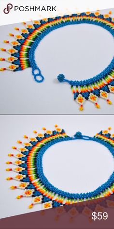UNIQUE Colombian Necklace Anncestral Woven necklace made with chaquiras from Colombia. Colorful and trading necklace. Beaded Jewelry Patterns, Seed Beads, Crochet Necklace, Jewelry Necklaces, Blue And White, Diy, Unique, Macrame, Handmade