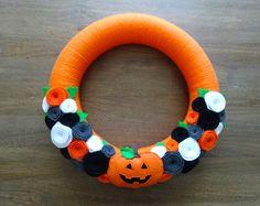 Halloween fieltro guirnalda, guirnalda, guirnalda de Halloween, guirnalda calabaza del fieltro