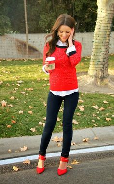 sparkly sweater outfit