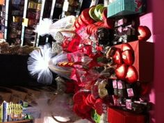 Beautiful holiday display, chocolates, cookies, beautiful baskets made to order for Valentine's Day.