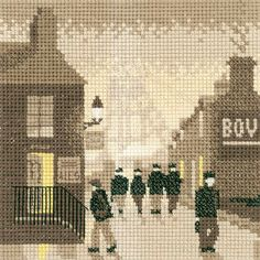 A sepia toned stitch that will transport you back in time. The Late Shift cross stitch kit from Heritage Crafts' Silhouettes series is the perfect. Counted Cross Stitch Kits, Cross Stitch Embroidery, Cross Stitching, Cross Stitch Designs, Cross Stitch Patterns, Cross Stitch Silhouette, Black Sheep Wool, Heritage Crafts, Cross Stitch Landscape