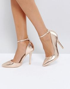 e0eba43d9 Glamorous Rose Gold Ankle Strap Court Shoes; Faux-leather upper Metallic  finish Ankle-