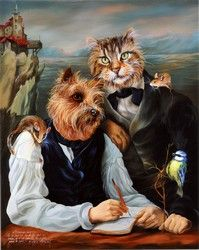 A dog and cat. Animal society by Sylvia Karle Marquet - Beauty will save Animal Dress Up, Image Chat, Animal Society, Pet Clothes, Beautiful Paintings, Cat Art, Pet Portraits, Funny Animals, Dog Cat