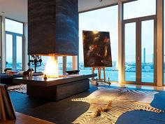 Magnificent penthouse with fireplace #modern