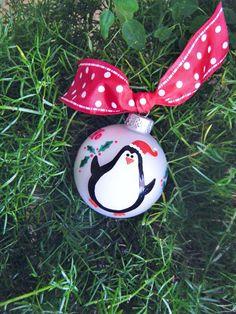Santa Penguin Ornament  Personalized by BrushStrokeOrnaments, $18.50