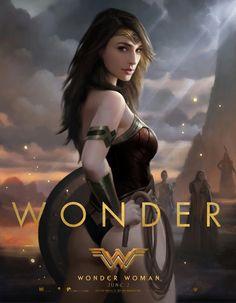 Gal Gadot as Wonder Woman Comic Book Characters, Comic Character, Female Characters, Super Heroine, Superhero Poster, Gal Gadot Wonder Woman, Wonder Woman Movie, Wonder Women, Comics Girls