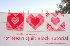 """12"""" heart tutorial from Diary of a Quilter - a quilt blog"""