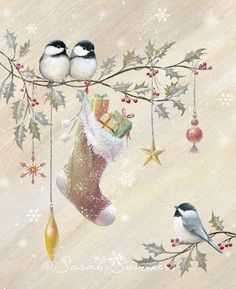 by Sarah Summers Christmas Bird, Christmas Scenes, Vintage Christmas Cards, Christmas Pictures, Winter Christmas, Christmas Crafts, Christmas Decorations, Vintage Cards, Illustration Noel