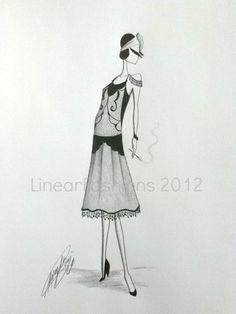 Fashion Illustration 1920s Art Deco Flapper by LinearFashions, $35.00.