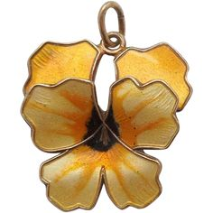 David Andersen Yellow Guilloche Enamel and Sterling Silver Pansy Charm Pendant | The Big O on Ruby Lane