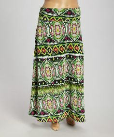 $24.99--Look what I found on #zulily! Lime Abstract Maxi Skirt - Plus by Avital #zulilyfinds