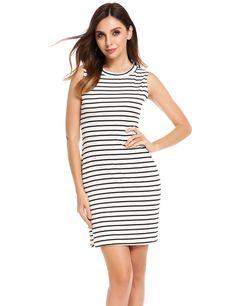 Black O-Neck Sleeveless Striped Elastic Side Hem Split Casual Dress
