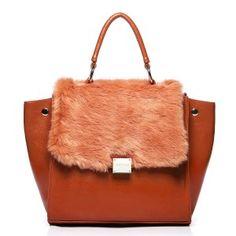 Torebka Exclusive With Fur Panel - Orange Womens Fashion Stores, Online Fashion Stores, New Bat, Orange Bag, Purse Styles, Giza, Fashion Handbags, Fashion Purses, Trendy Outfits