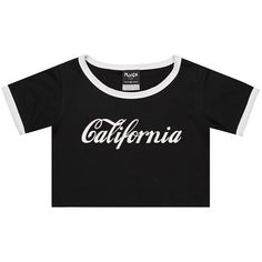 California Ringer Tee Crop Top T Shirt Womens Girl Funny Fun Tumblr... ($17) ❤ liked on Polyvore featuring tops, t-shirts, black, sweater vests, sweaters, women's clothing, hipster t shirts, sweater vest, crop tops and crop tee