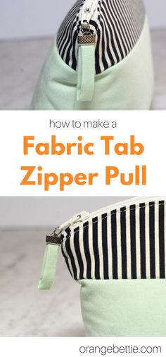 How to make a fabric tab zipper pull sewing tutorial Bag Patterns To Sew, Sewing Patterns, Skirt Patterns, Coat Patterns, Blouse Patterns, Purse Tutorial, Zipper Pouch Tutorial, Tutorial Sewing, Fabric Purses