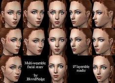 Mod The Sims - Multi-wearable facial scars