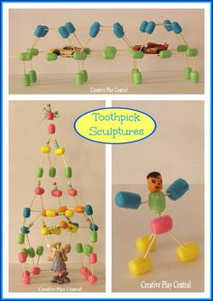 toothpick sculptures with packing peanuts... so cool! Fun fine motor, bilateral coordination, and problem solving activity