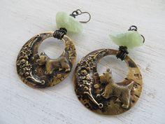 Handmade Raw Prehinite Patinaed Brass Scottie Dog Altered Art Earrings