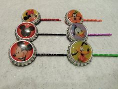 MICKEY AND FRIENDS Bottle Cap Hair Bobby Pins by JUSTEJOLIE!    YOU GET 6 BOTTLE CAP DISNEY HAIR BOBBY PINS INCLUDING MICKEY, MINNIE MOUSE, GOOFY, PLUTO, DONALD DUCK, AND THE MICKEY MOUSE SHADOW SHAPE!