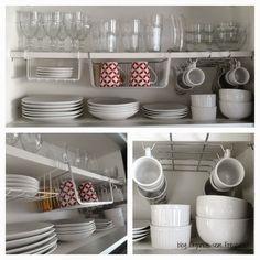 Cozinha - Conte com ajuda de organizadores para ganhar mais espaços dentro do armário da cozinha. Esses produtos são incríveis para manter o ambiente em ordem e deixar tudo mais prático.