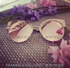 ROSE GOLD Pink MIRRORED CATEYE Reflective AVIATOR SUNGLASSES Celeb  FESTIVAL 1