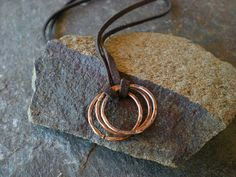FOR THE GUYS!  Hammered Copper  Necklace on Deerhide by BalsamrootRanch, $39.00
