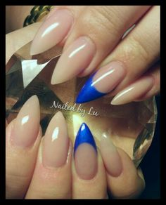 Nude nails with electric blue features  Claw nails Stiletto nails Nail design @nailedbylu