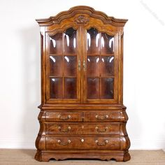 Antiques Atlas - Burl Elm Dutch Bombe Display Cabinet On Chest Antique Display Cabinets, Vintage Display, Big Kitchen, Humble Abode, Panel Doors, Interior Lighting, Old Houses, French Antiques, Shelving