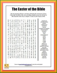 Easter of the Bible Word Search | Word Puzzle Hound