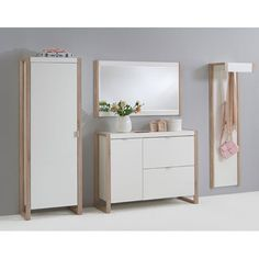 Frame7 Wooden Shoe Cabinet In Pear White And Oak Finish Legs