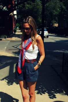 mens belted shorts & girly scarf