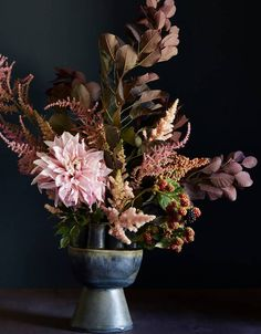 "Floral arrangement inspired by Georgia O'Keefe's 1929 painting ""Oak Leaves, Pink and Grey"""