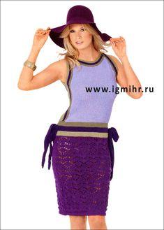 Яркое разноцветное платье. Спицы