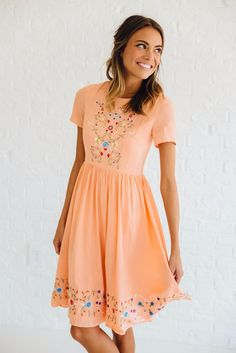Adelaide Embroidered Dress | Clad & Cloth Apparel