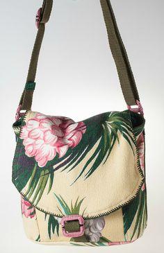 Vintage Floral Barkcloth Messenger Bag (soft yellow, rose, green, cream) Price: $150 | Specs and to buy now:   https://www.etsy.com/listing/241916918/vintage-floral-barkcloth-messenger-bag?ref=shop_home_active_1