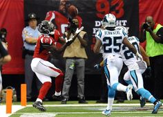 Atlanta Falcons wide receiver Aldrick Robinson (19) makes a touchdown reception past Carolina Panthers strong safety Kurt Coleman (20) and cornerback Bene' Benwikere (25) in the second half at the Georgia Dome in Atlanta, Ga. on Sunday, October 2, 2016. Atlanta won 48-33.