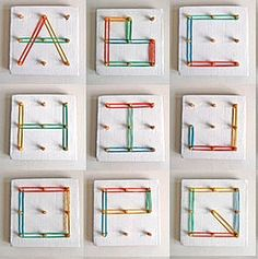DIY 4 KIDS: Play And Grow rubber band and peg toy and alphabet Learning Letters, Alphabet Activities, Literacy Activities, Educational Activities, Fun Learning, Activities For Kids, Diy For Kids, Crafts For Kids, Arts And Crafts