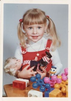 Vintage+color+photo+very+excited+girl+with+doll+donald+duck+disney+toy++