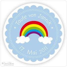 Aufkleber Regenbogen Rainbow, Party, Amelia, Inspiration, Baptism Ideas, Baby Blue, Communion, Invitation Cards, Invitations