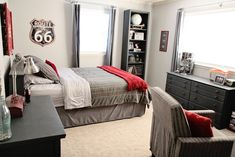 boys room? - i like this mostly neutral black grey and white with small amounts of red. maybe just a little more red than here.
