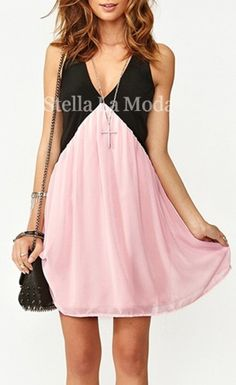 Lady's Deep V-neck Hollow Back Chiffon Stitching Vest Dress  Super cute. EvenTho I doubt I'll ever be wearing it. :)