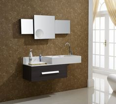 Bathroom Awesome Vanities And Vanity Cabinet Floating Black Wooden White Color Bath Sink Wall Mounted Shelves With Mirrored Door