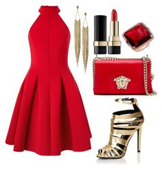 """Red Little Glam Look 2015"" by diamondanna ❤ liked on Polyvore featuring Miss Selfridge, Panacea, Versace, Dolce&Gabbana and Lipsy"
