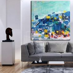 FREE OF MIND The artist, who painted this abstract art, was inspired by the marine life in the Red Sea. To convey all the beauty, he used a variety of warm and rich colors, ranging from warm blue to a full palette of red hues. The artwork is completely permeated with vibrations of unusual marine life and purity. Abstra Large Canvas Wall Art, Large Artwork, Extra Large Wall Art, Blue Abstract Painting, Marine Life, Modern Art, Wallpaper, Rich Colors, Red Sea