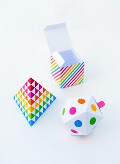 3 cajas de molde de coloridos regalos para impresión