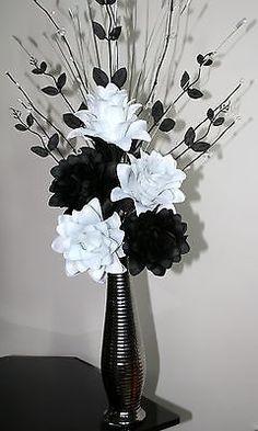 17 best artificial silk flowers images on pinterest artificial artificial silk flowers black white flower arrangement in silver vase 60cm mightylinksfo